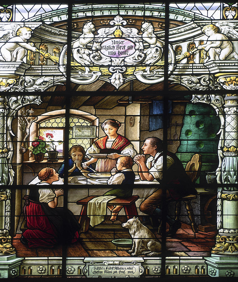 Stained Glass Window Photograph - Stained Glass Family Giving Thanks by Sally Weigand