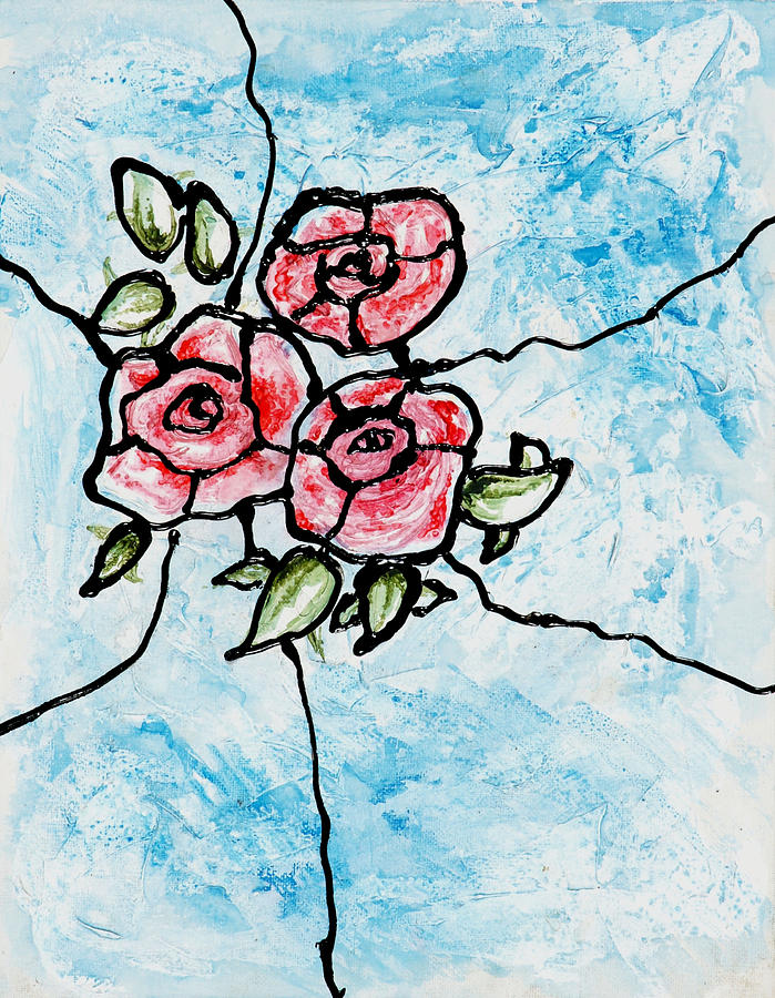 Roses Painting - Stained Glass Roses by Valerie Brown