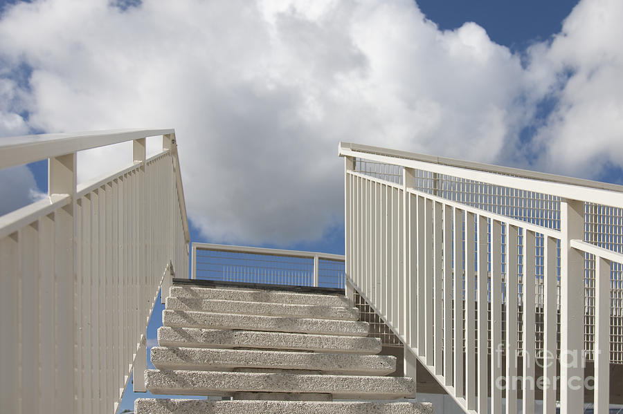 Beautiful Photograph - Stairs And Clouds by Jaak Nilson
