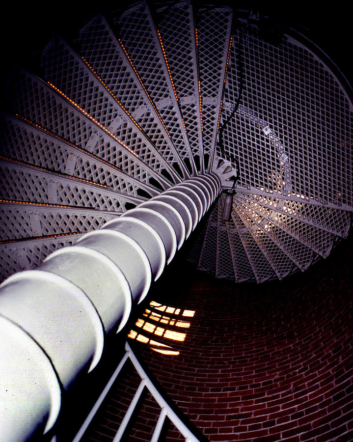 Lighthouse Photograph - Stairs To The Light by Skip Willits