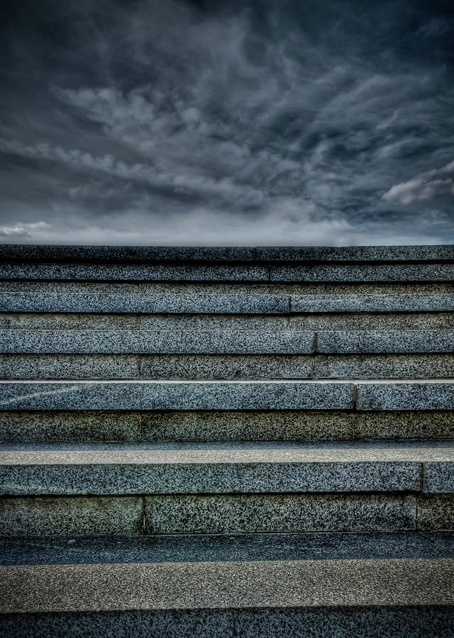 Hdr Photograph - Stairway leading to the stormy sky by Michael Goyberg