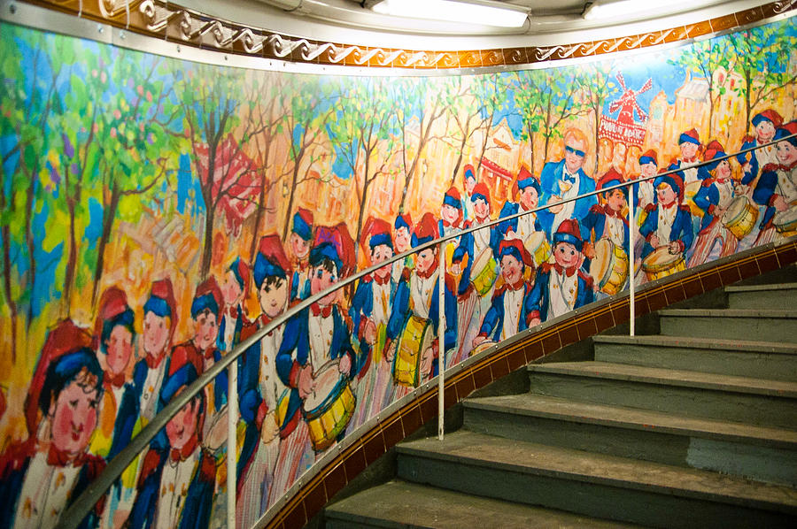 France Photograph - Stairway Mural At Montmartre Metro Exit by Jon Berghoff