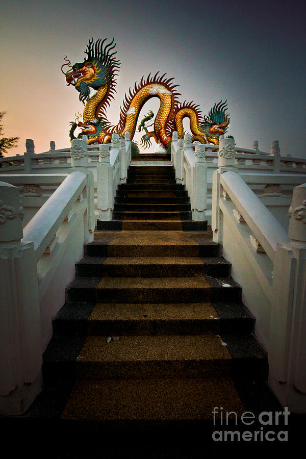 Ancient Pyrography - Stairway To The Dragon. by Phaitoon Chooti