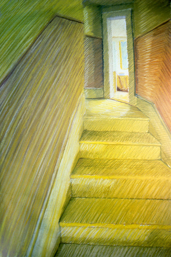 Stairway Drawing - Stairwell In Malden Apartment 1978 by Nancy Griswold