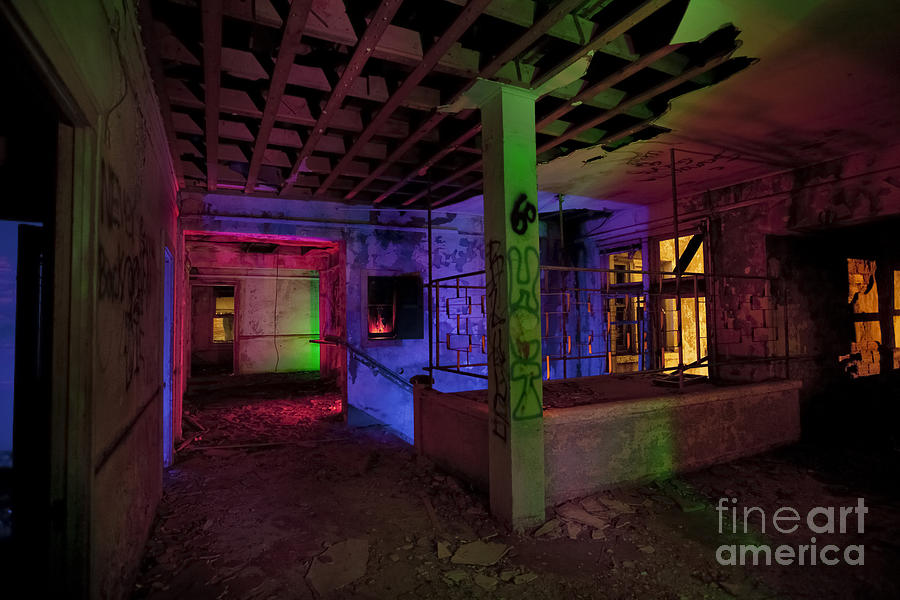 Night Time Photography Photograph - Stairwell Of The Stamford Hotel by Keith Kapple