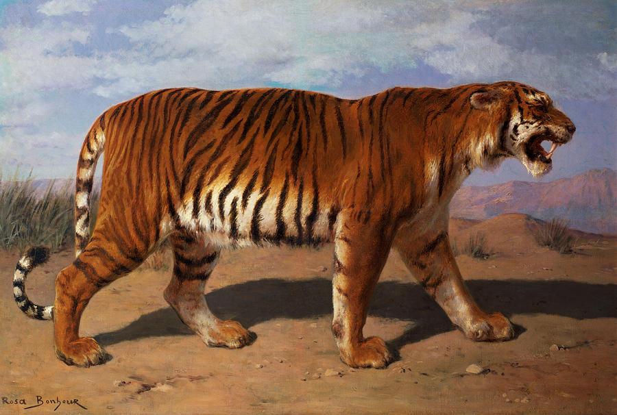 Stalking Painting - Stalking Tiger by Rosa Bonheur