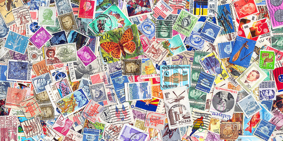 Kitsch Photograph - Stamp Collection . 2 To 1 Proportion by Wingsdomain Art and Photography