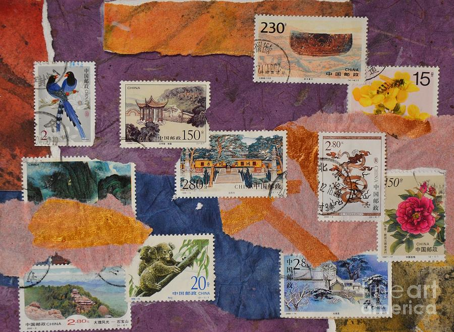 Stamps Painting - Stamps From China by Barbara Tibbets