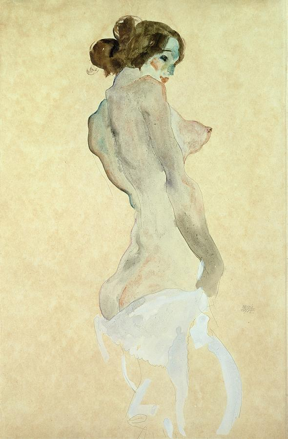 Standing Female Nude Painting - Standing Female Nude by Egon Schiele