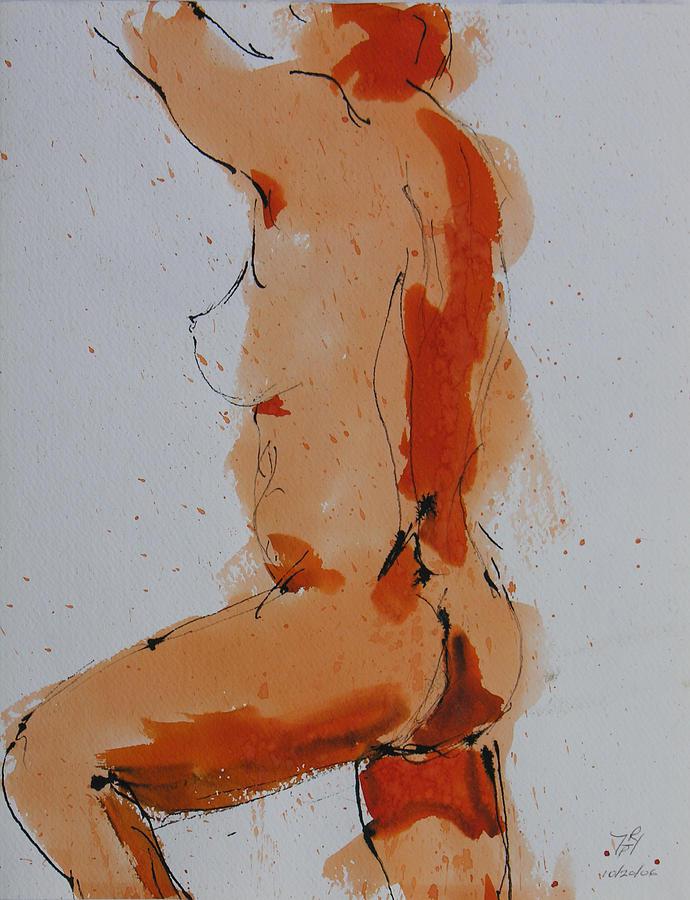 Nude Painting - Standing Nude by Robert P Hedden
