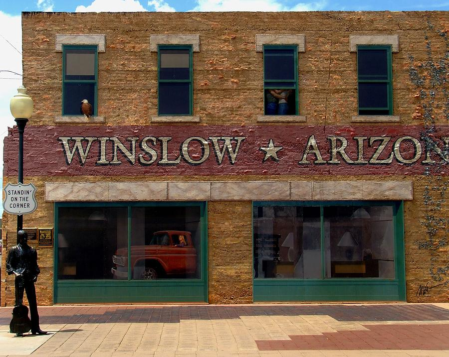 Winslow - Rt 66 - Standing On The Corner - Greeting Card Photograph