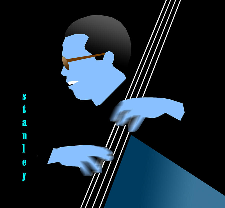 Jazz Digital Art - Stanley Clarke Blue by Victor Bailey