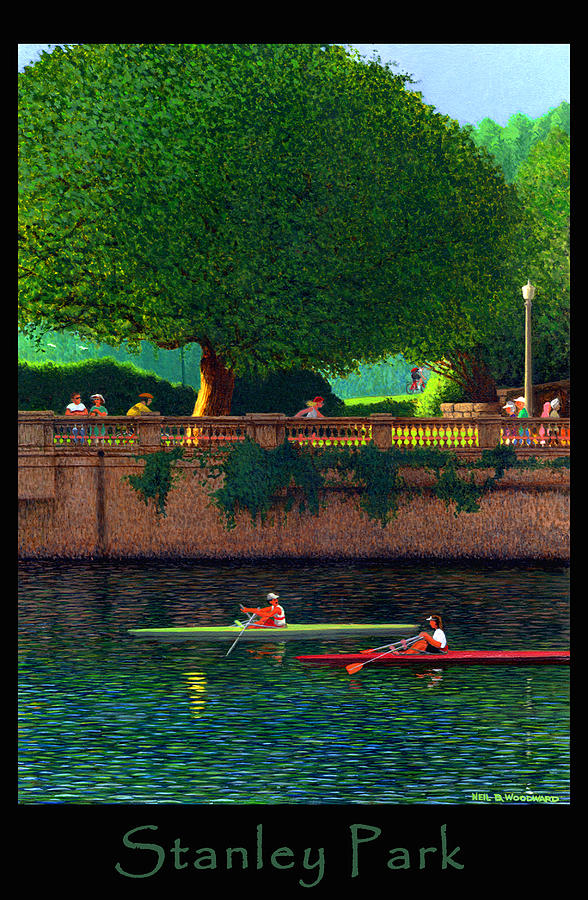 Sculling Digital Art - Stanley Park Scullers Poster by Neil Woodward