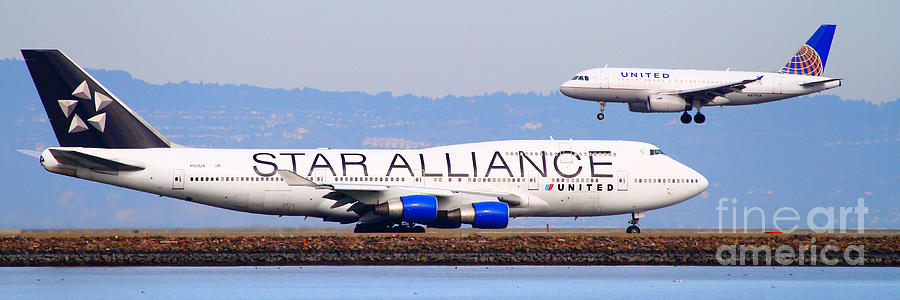 Pano Photograph - Star Alliance Airlines And United Airlines Jet Airplanes At San Francisco Airport Sfo . Long Cut by Wingsdomain Art and Photography