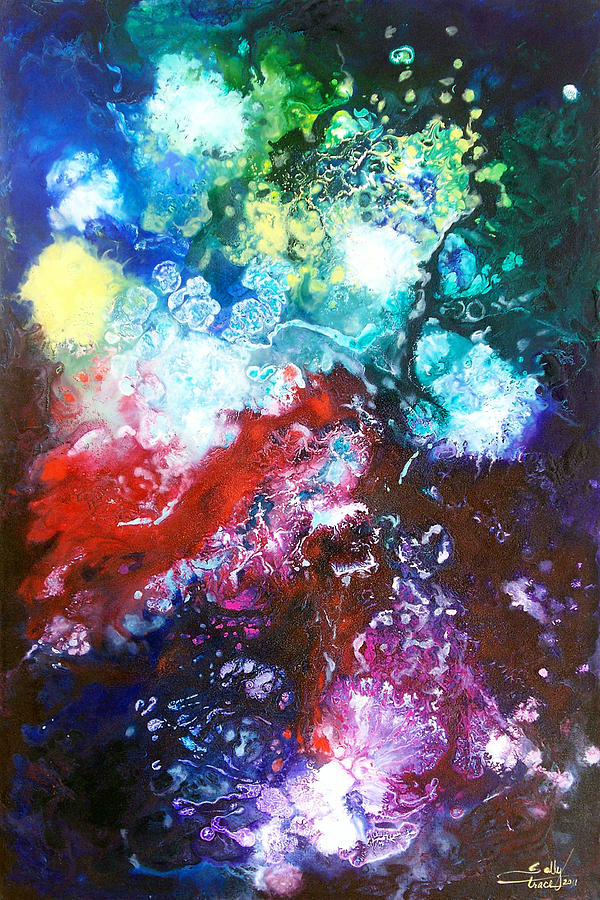 Space Painting - Star Clusters by Sally Trace