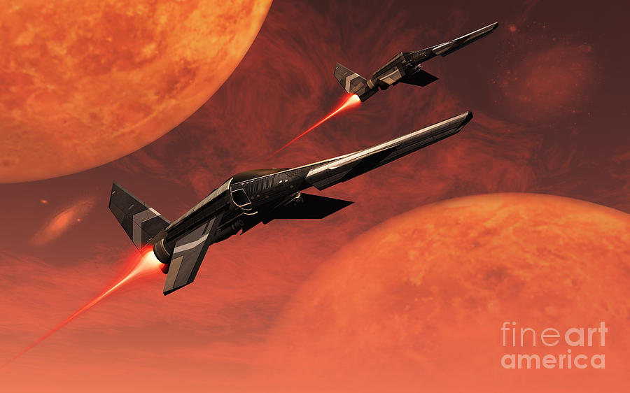 Exploration Digital Art - Star Fighters On A Routine Space Patrol by Mark Stevenson