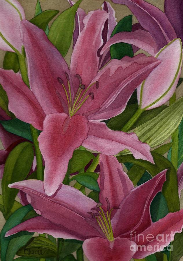 Lily Painting - Star Gazer Lilies by Vikki Wicks