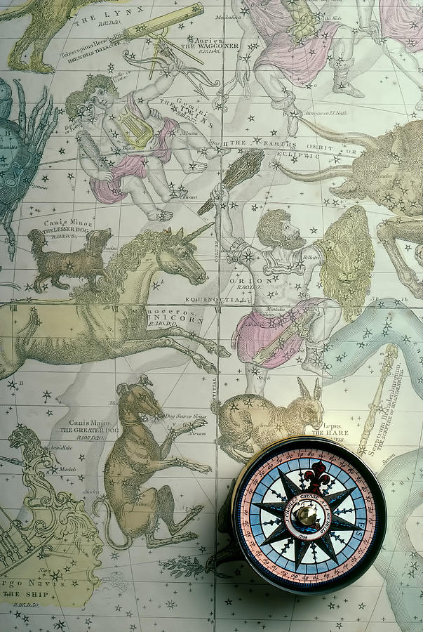 Star Map Photograph - Star Map And Compass by Garry Gay