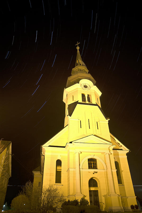 Stars Photograph - Star Trails Behind Vodice Church by Ian Middleton