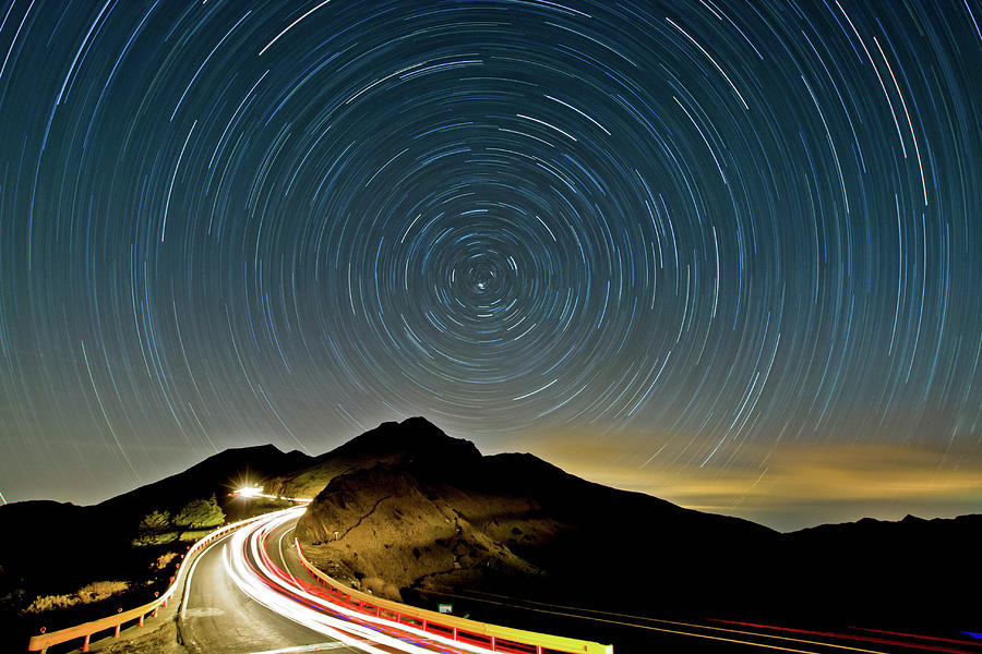 Horizontal Photograph - Star Trails by Higrace Photo