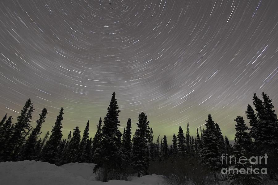 Milky Way Photograph - Star Trails, Milky Way And Green Aurora by Yuichi Takasaka