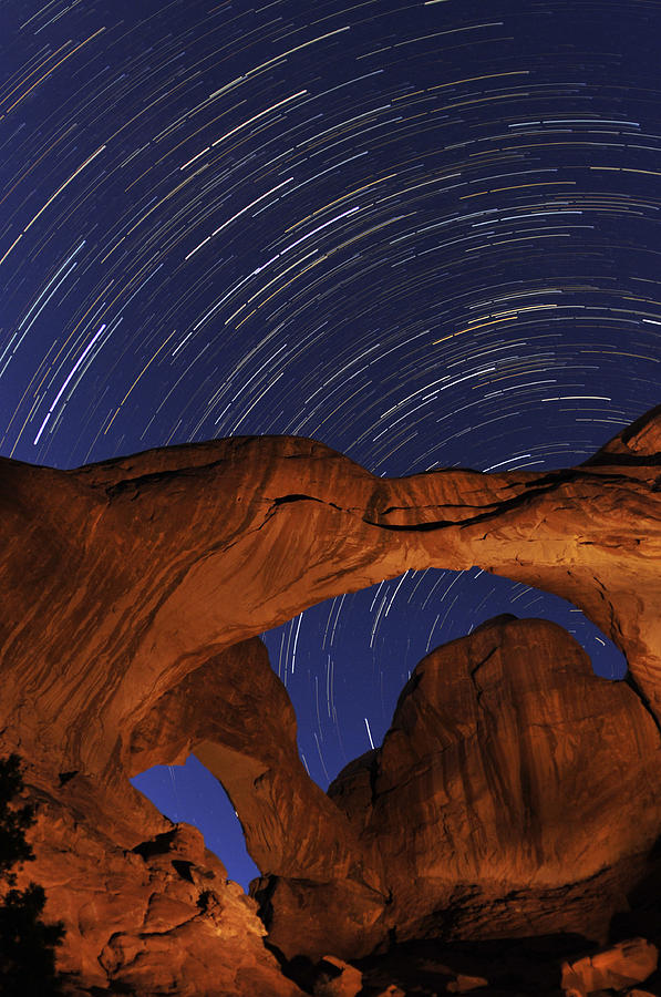 Arches Photograph - Star Trails Over Double Arch by Craig Ratcliffe