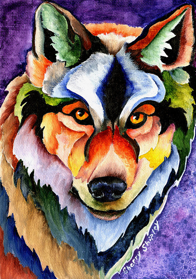 Wolf Painting - Stare Down by Sherry Shipley