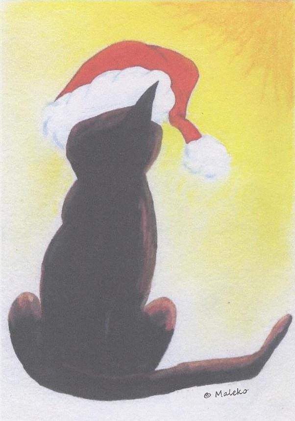 Cat Painting - Staring Into the Light by Mark Schutter