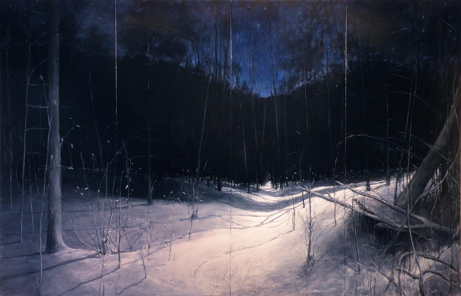 Starry Moonlit Deep Winter Night Painting By Stephen Remick