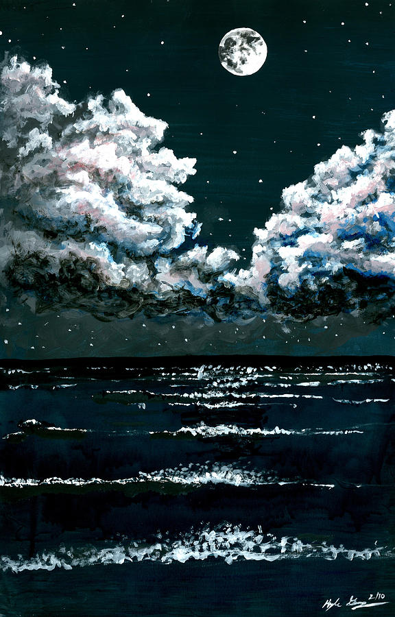 Starry Night Seascape Painting By Kyle Gray