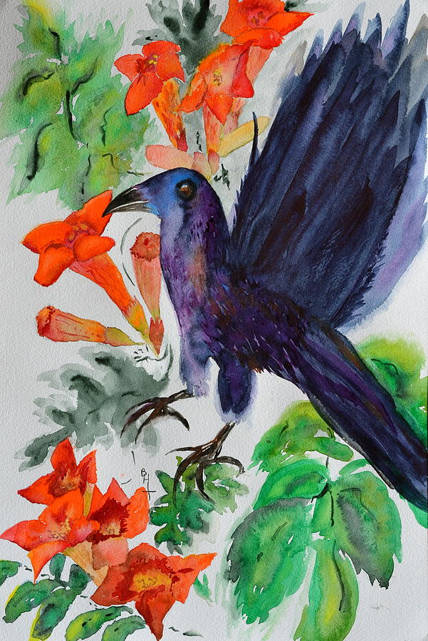 Crow Painting - Startle by Beverley Harper Tinsley