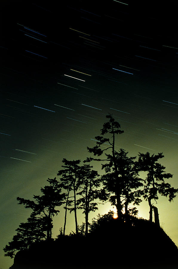 Star Trails Photograph - Startrails And Moonlit Fog, Canada by David Nunuk