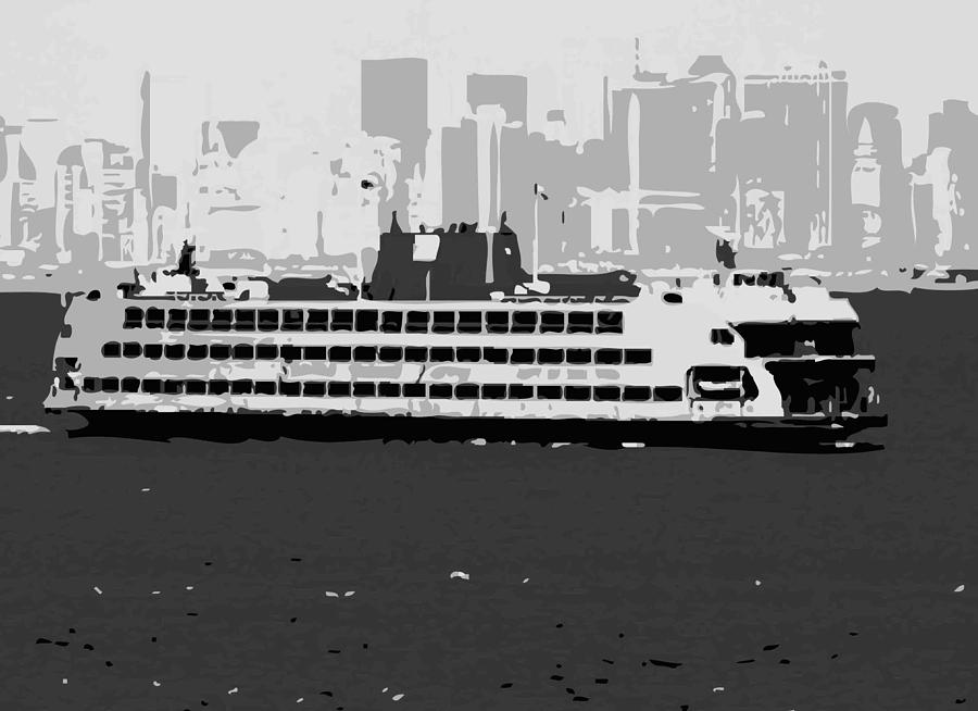 Staten Island Ferry Photograph - Staten Island Ferry Bw3 by Scott Kelley