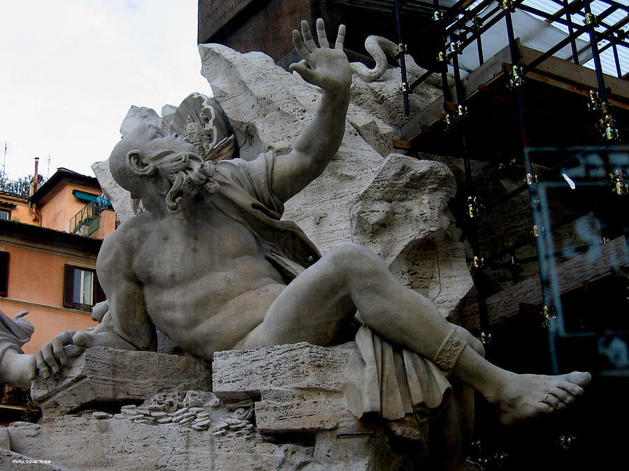 Venice Relief - Statue At Piazza by Suhas Tavkar