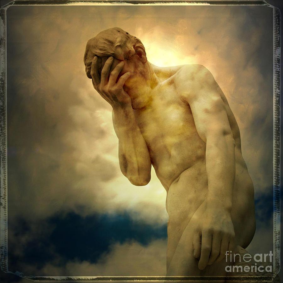 Remote Photograph - Statue Of Human Covering Face by Bernard Jaubert