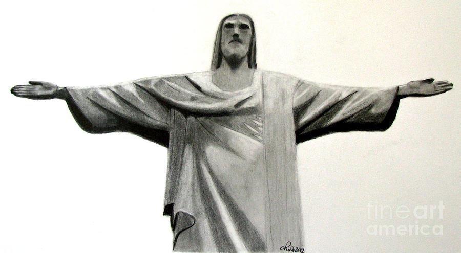 Jesus Drawing - Statue Of Jesus In Rio by Claudiu Radulescu