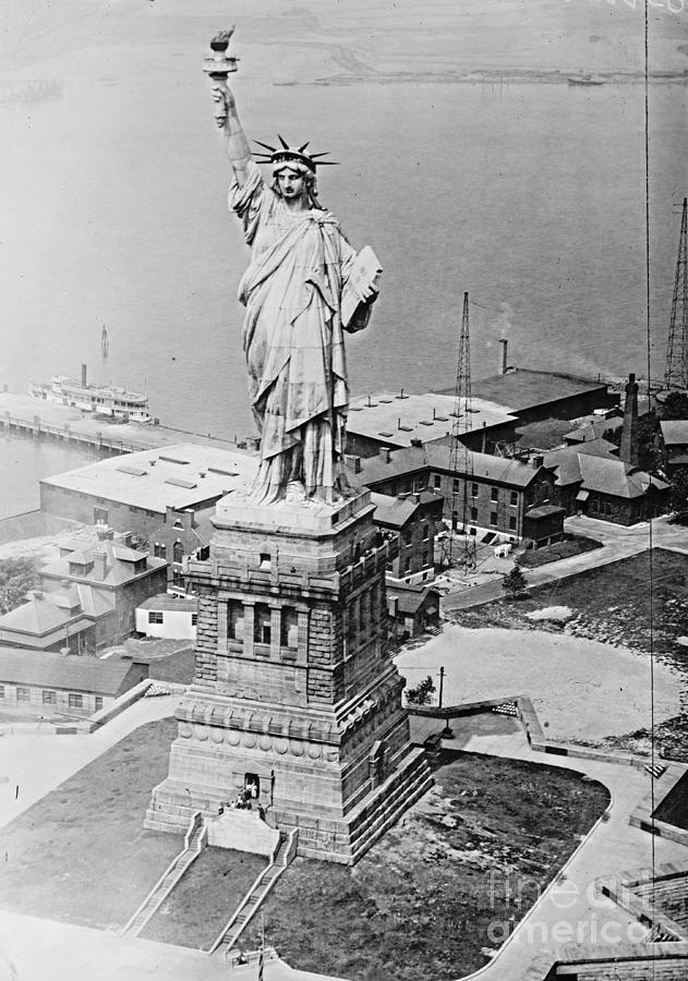 Statue of Liberty Aerial View 1920 Photograph by Padre Art