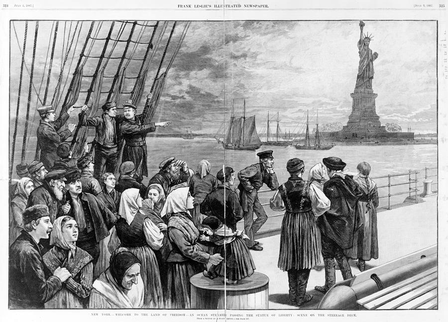 1880s Photograph - Statue Of Liberty. Welcome To The Land by Everett