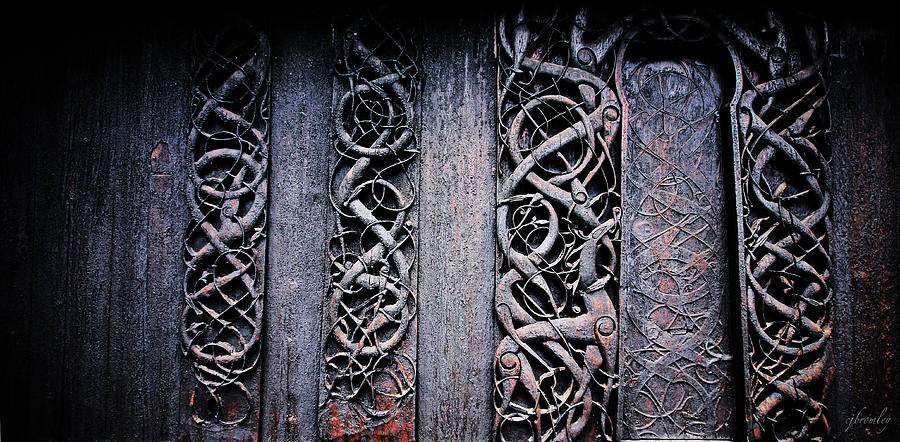 Urnes Photograph - Stave Carving by Chad Bromley