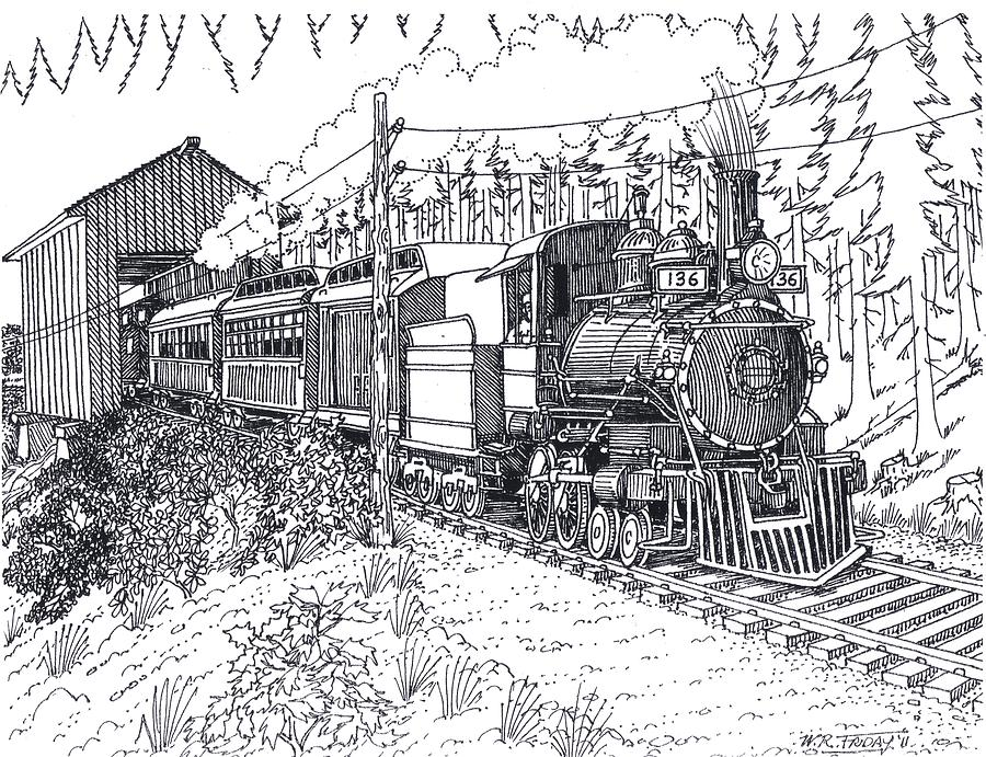 Steam Passenger Service Drawing by Bill Friday