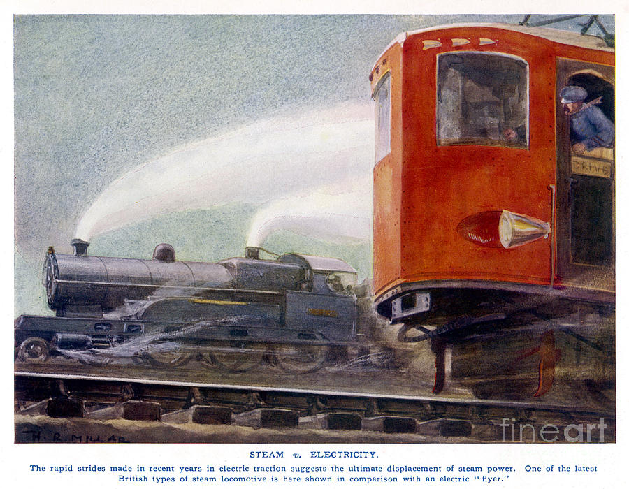 Train Drawing - Steam Trains Versus Electric by Mary Evans and Photo Researchers
