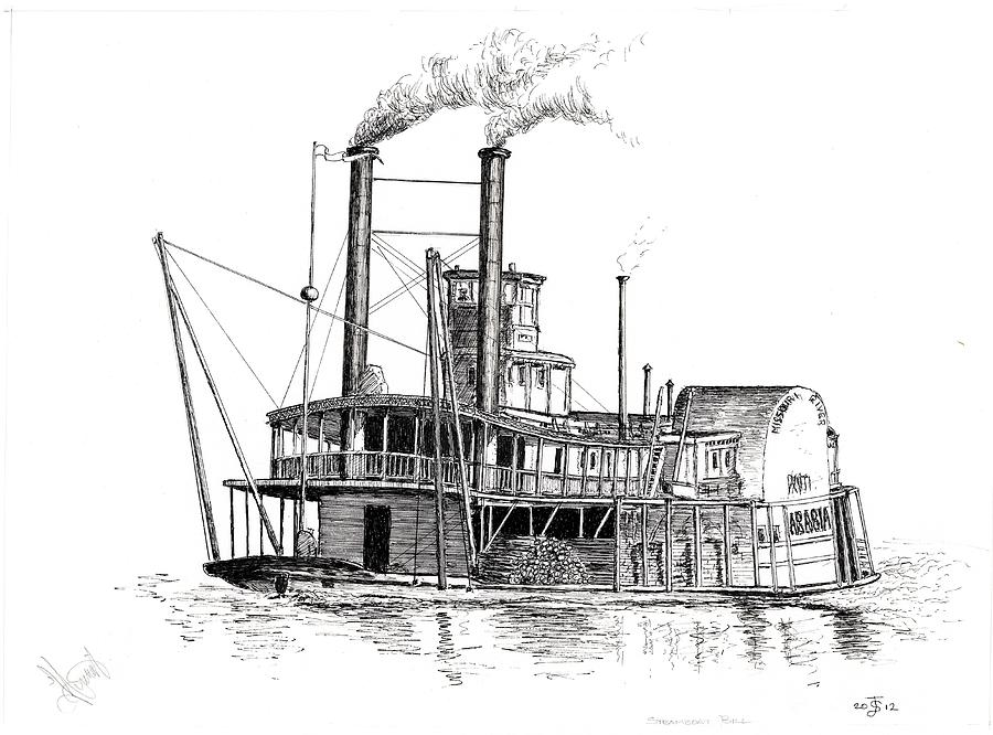 Mark Twain Drawing - Steamboat Bill   The Arabia by John Simlett