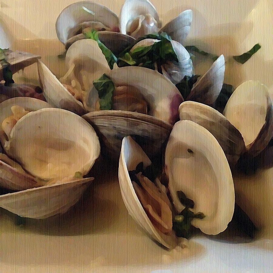 Shellfish Photograph - Steamed Clams by Joan Meyland