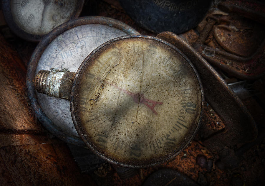 Hdr Photograph - Steampunk - Gauge For Sale by Mike Savad