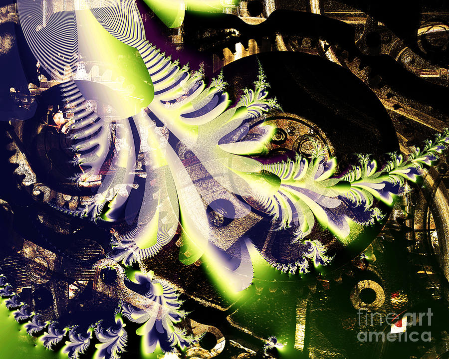 Fractal Digital Art - Steampunk Abstract Fractal . S2 by Wingsdomain Art and Photography
