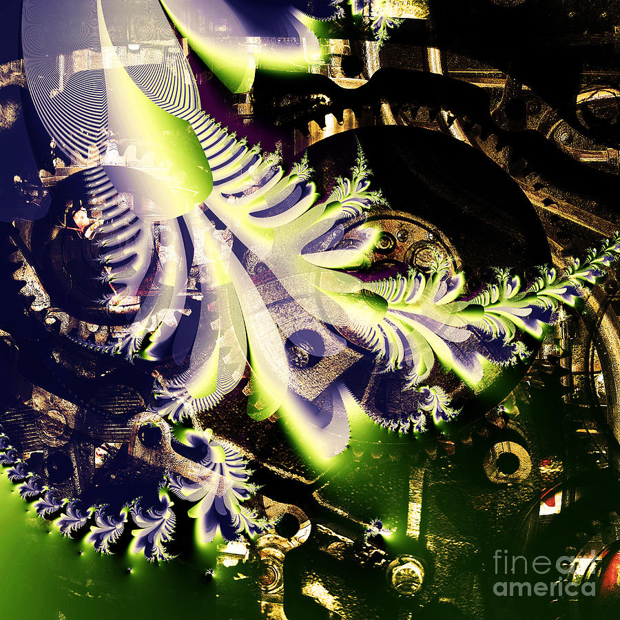 Fractal Digital Art - Steampunk Abstract Fractal . Square . S2 by Wingsdomain Art and Photography