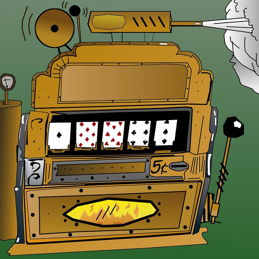 Steampunk Digital Art - Steampunk Slot Machine by Casino Artist