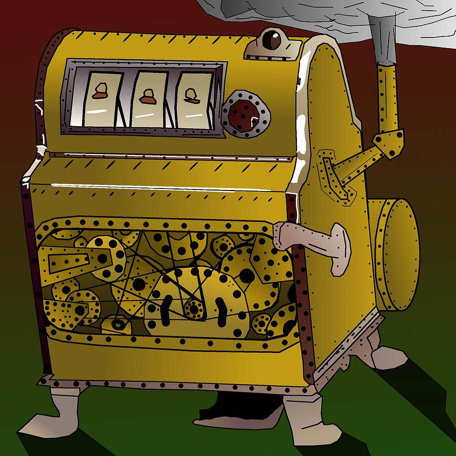 Liberty Bell Digital Art - Steampunk Slot Machine Like Liberty Bell by Casino Artist