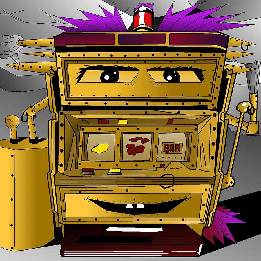 Slot Drawing - Steampunk Slot Punk Machine by Casino Artist