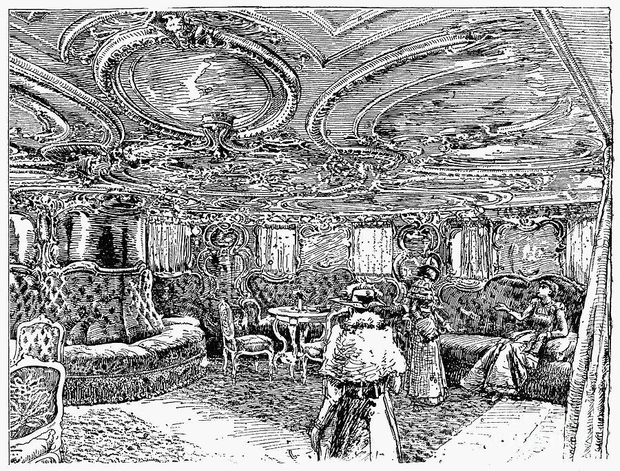 1890 Photograph - Steamship Salon, C1890 by Granger